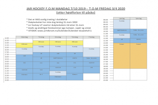 Treningstider Jar Hockey 19-20